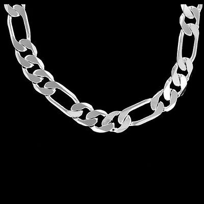 UNISEX~925  SILVER FIGARO Chain~BOGO Special~ NECKLACE*3 SIZES~