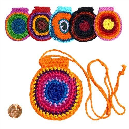 "Mojo Pouch Necklace Crocheted Crystal Gemstone Bead Medicine Bag 3"" x 3""."