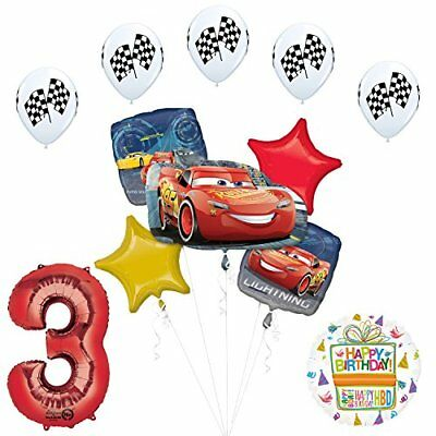 Disney Cars Balloons (Disney Cars 3 Lighting McQueen 3rd Birthday Party Supplies )