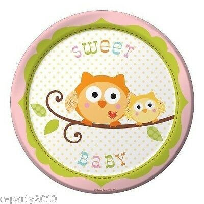 HAPPI TREE OWL PINK SMALL PAPER PLATES (8) ~ Baby Shower Party Supplies Dessert - Owl Paper Plates