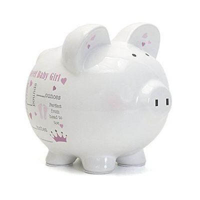 Child to Cherish Ceramic Baby Birth Announcement Piggy Bank for Girls, (Cherish Ceramic)