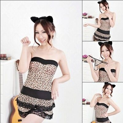 Sexy Cougar Cat Leopard Lingerie Girl Cosplay Halloween Women Costume