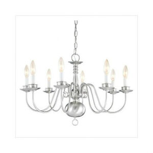 BNIB-Thomas-Lighting-Brushed-Nickel-8-Light-Chandelier-Item-M2209-78