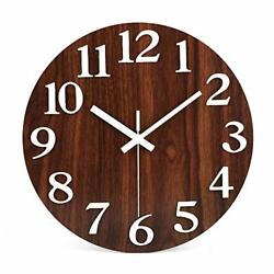 12'' Night Light Function Silent Round Wall Clock Large 3D 3d+brown