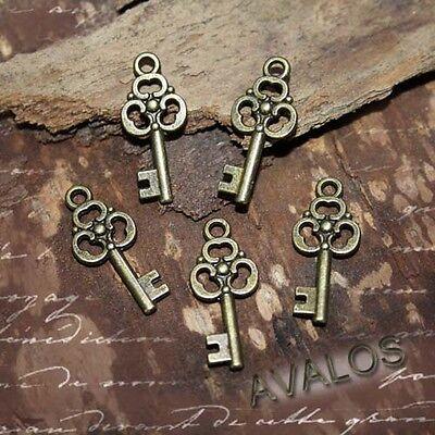 10 kleine Schlüssel Anhänger, bronze, Schmuck Basteln, DIY, Charms Steampunk
