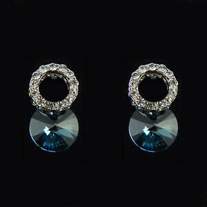 14k White Gold GF Swarovski crystals Austrian bead stud solid earrings ear ring