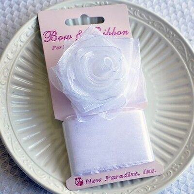 White Rose Bow and Ribbon Easy Clip On Present Gift Bow Christmas Gift Wrap