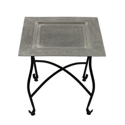 "Moroccan Tray Table Metal Accent furniture coffe Table Side Table 15.75""H"