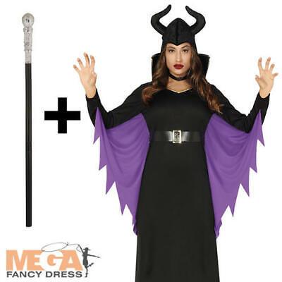 Evil Fairy Ladies Fancy Dress Maleficent Villian Halloween Adults Costume + Cane