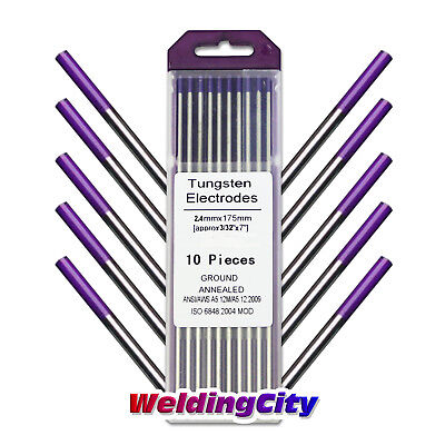 10-pk Tig Welding Tungsten Tri-element Non-radioactive Purple 332x7 Us Seller