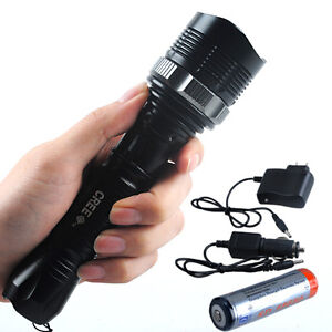 1800LM CREE XM-L T6 LED Zoomable Flashlight Torch Free 18650 Battery Car Charger