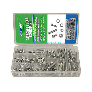 240PC Grip Nut And Bolt Washer Assortment SAE Set