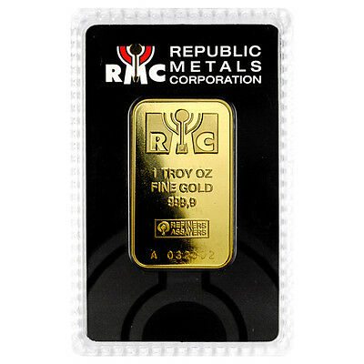 Republic Metals Corporation 1 Troy Oz Gold Bar Sealed with Assay Card SKU32825