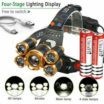 990000LM 5X T6 LED Headlamp Rechargeable Head Light Flashlight Torch Lamp USA