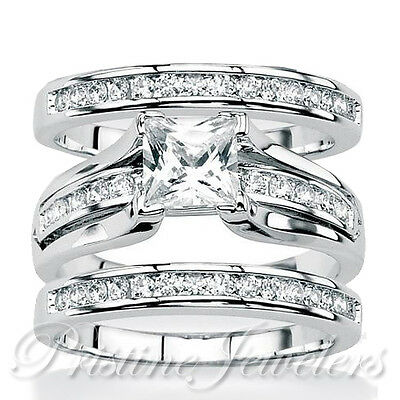 925 Sterling Silver Women's Wedding Band Princess Bridal Engagement Ring 3pc Set
