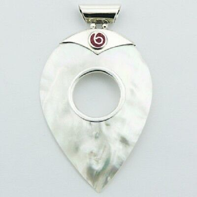 silver pendant 925 sterling mother of pearl handmade Coral swirl  65mm long