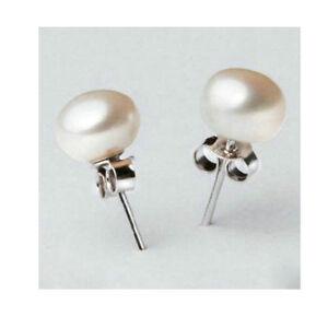 925 Sterling Silver Stud Cultured Freshwater Pearl Stud Earrings Wedding Bridal