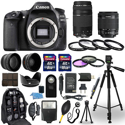 Canon Eos 80D Camera   18 55Mm Stm   75 300Mm   30 Piece Accessory Bundle