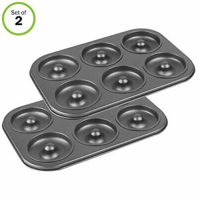 2 Donut Baking Pan 6 Cavity Coffee Cake Maker Non Stick Pans 10.25x7.25x1.25in