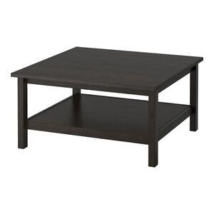 "Ikea Hemnes Square Coffee Table Black/Brown 35 3/8 X 35 38"" FSBO"