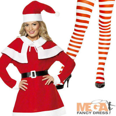 Miss Santa Claus + Tights Ladies Fancy Dress Christmas Womens Costume Outfit New](Miss Santa Claus Outfit)