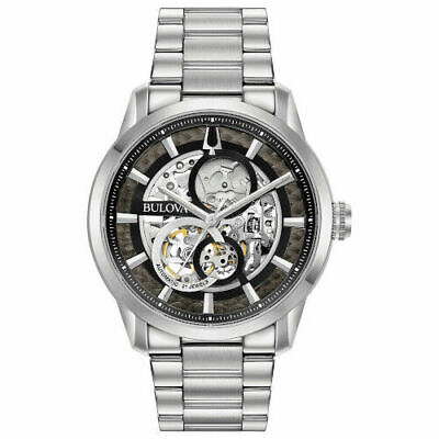 Bulova 96A208 Sutton Men's Automatic Movement Stainless Steel 43mm Case (208 Silver Case Watch)