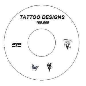 100,000 + FLASH DESIGNS TATTOO BOOKS TRIBAL JAPANESE DEMONS BUTTERFLY CD / DVD