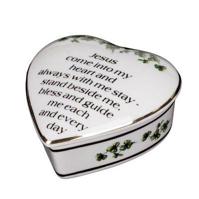 - Porcelain Irish Shamrock Jewelry Keepsake Box (First Communion Box)