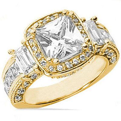 4.66 carat total, 2 ct Cushion Cut Diamond Halo Engagement 18k Yellow Gold Ring
