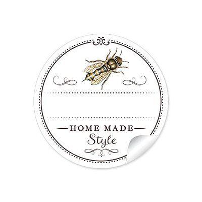 24 Schöne Honigetiketten für die Küche in weiß mit Biene