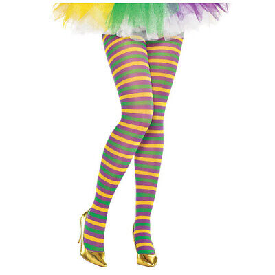 MARDI GRAS STRIPED ADULT TIGHTS (1 pair) ~ Birthday Party Supplies Costume Dress - Mardi Gras Tights