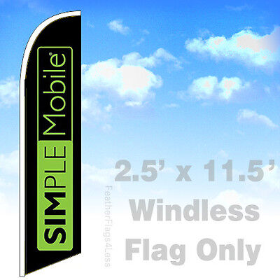 Simple Mobile - Windless Swooper Flag 2.5x11.5 Feather Banner Sign - Kb