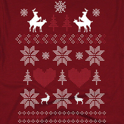 Ugly Christmas Sweater humping Reindeer funny White Elephant t shirt MENS RED