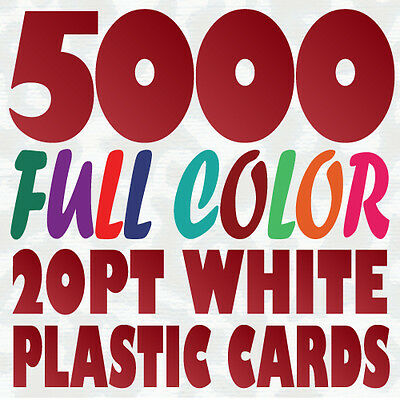5000 Full Color Custom 20pt WHITE PLASTIC BUSINESS CARD Printing w Round Corners