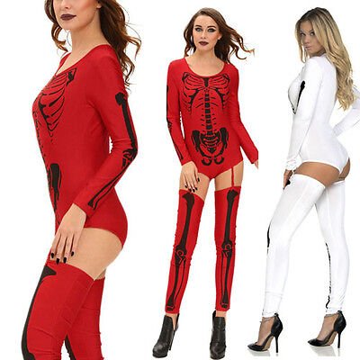 Digital Print Skull Skeleton Long Sleeved Body Suit Thigh High Halloween Costume (Skeleton Bodysuit Kostüme)