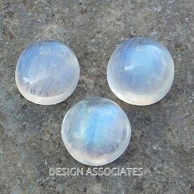 NATURAL WHITE MOONSTONE 8 MM ROUND CUT CALIBRATED COMMERCIAL 3 PC SET