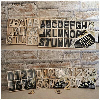 Alphabet ABC 81 Holzbuchstaben Ziffern Holzzahlen 50 Zahlen Natur Weiß Schwarz