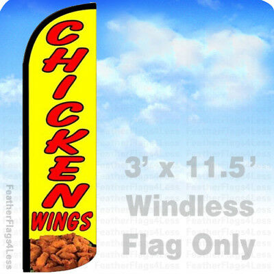 Chicken Wings - Windless Swooper Feather Flag 3x11.5 Banner Sign - Yq