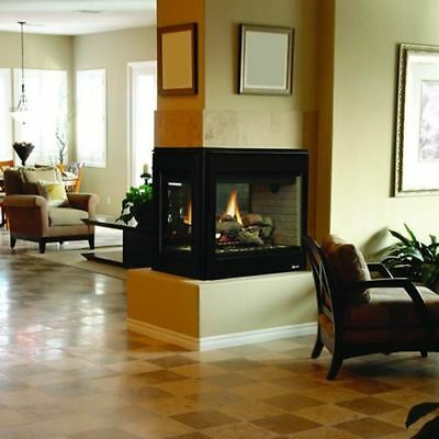 "Superior 35"" DV Electric Peninsula Fireplace w/Black Interior - NG"