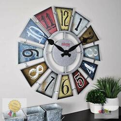 Big Numeral Windmill Wall Clock, 24, Multicolor Farmhouse Rustic Country Decor