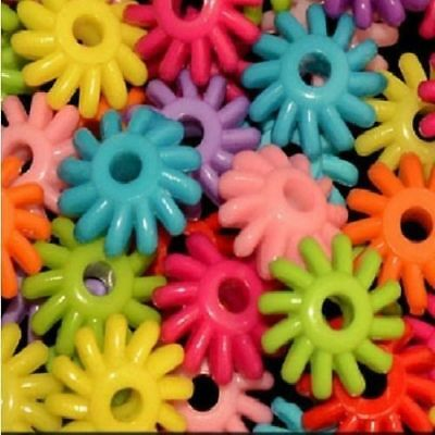 50-MED-PLASTIC-GEAR-BEADS-3-/8''- 1/4''-HOLE-Bird-Toy-Parts- JEWELRY- CRAFTS
