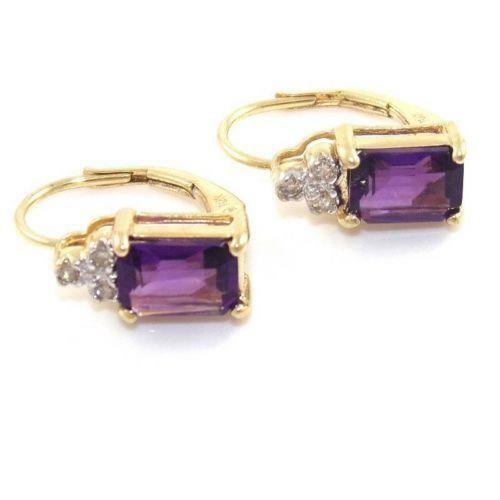 gold amethyst earrings ebay. Black Bedroom Furniture Sets. Home Design Ideas