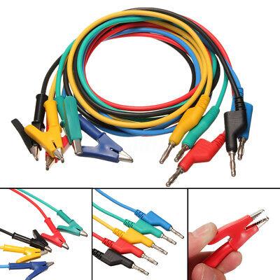 5x Silicone Banana Plug To Crocodile Alligator Clip Test Probe Lead Wire Cable