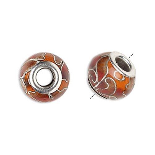 Pomegranate Orange Handmade Cloisonne 14x10mm Large 5mm Hole European Charm Bead