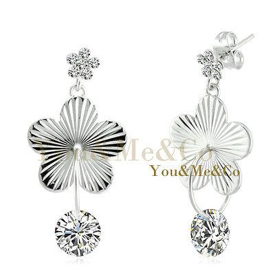 18k Brilliant Cut Stud - 18k White Gold EP Brilliant Cut Clear Crystal Stud & Dangle Earrings