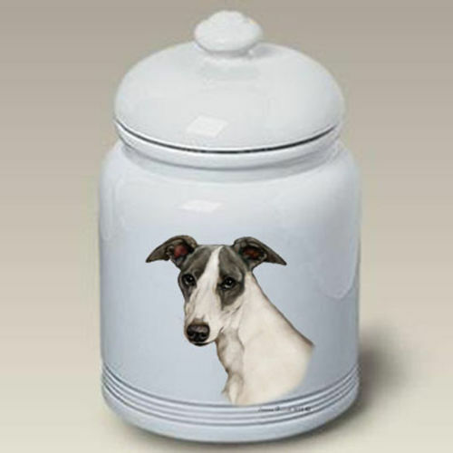 Blue and White Whippet Ceramic Treat Jar TB 34322