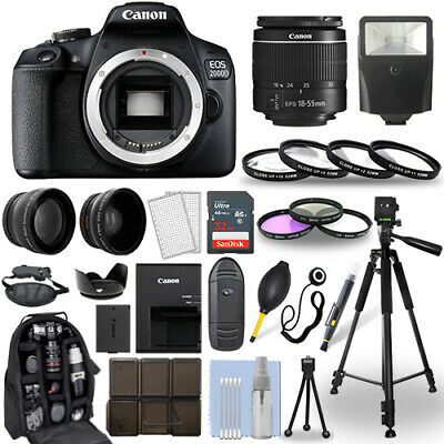 Canon EOS 2000D / Rebel T7 DSLR Camera + 18-55mm Lens+ 30 Piece Accessory Bundle