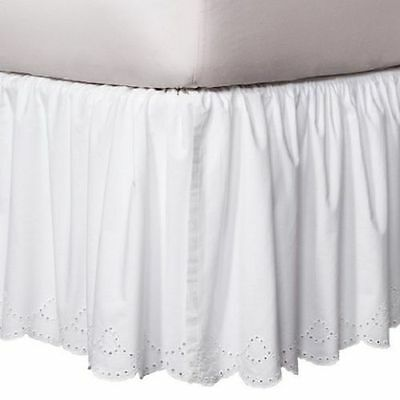 Simply Shabby Chic White Eyelet Bedskirt KING     Cottage