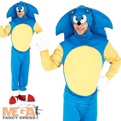 Sonic The Hedgehog Mens Fancy Dress 1990s Video Game TV Adults Costume Outfit  - Mens Sonic Costume