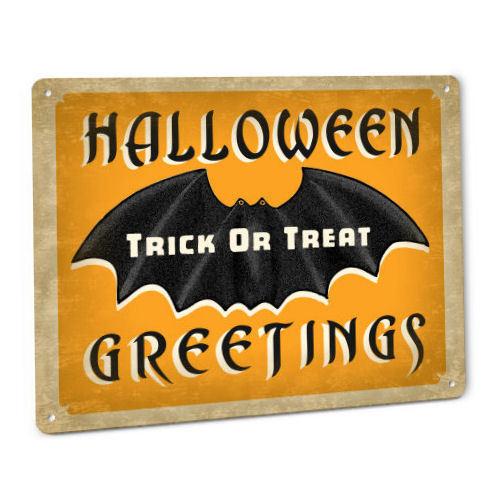 Halloween Bat Decor SIGN Party Decoration Prop Vintage Retro Trick Or Treat 131